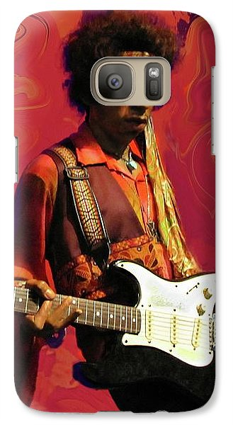 Galaxy Case featuring the photograph Jimi Hendrix Purple Haze Red by David Dehner