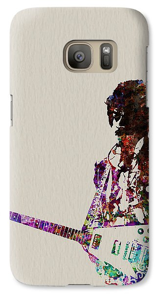 Rock And Roll Galaxy S7 Case - Jimmy Hendrix With Guitar by Naxart Studio