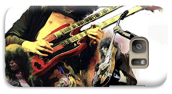 Galaxy Case featuring the painting Jimmy Page  Echoes Of Pompeii by Iconic Images Art Gallery David Pucciarelli