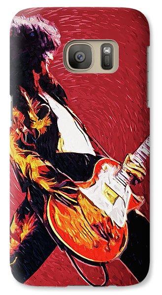 Folk Art Galaxy S7 Case - Jimmy Page  by Taylan Apukovska