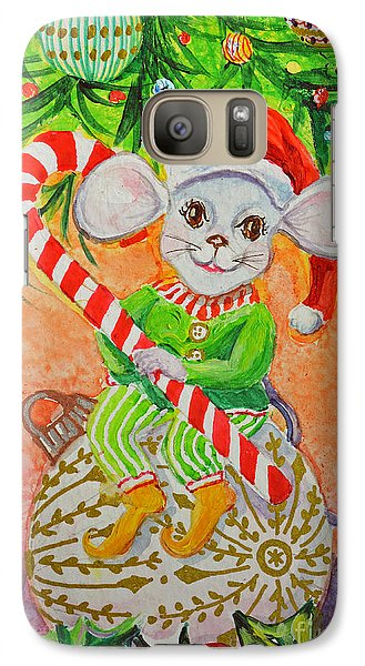 Galaxy Case featuring the painting Jingle Mouse by Li Newton