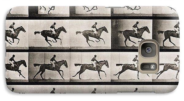 Horse Galaxy S7 Case - Jockey On A Galloping Horse by Eadweard Muybridge