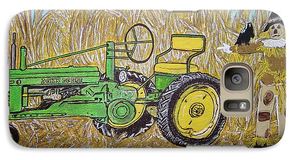 Galaxy Case featuring the painting John Deere Tractor And The Scarecrow by Kathy Marrs Chandler