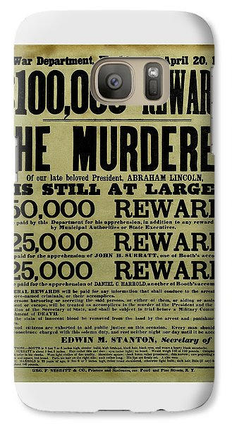 John Wilkes Booth Wanted Poster Galaxy Case by War Is Hell Store