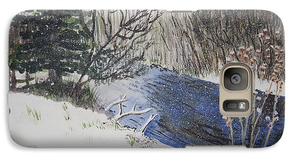 Galaxy Case featuring the painting Johnson Vermont In Spring Snow Storm by Donna Walsh