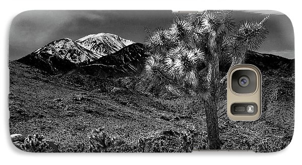 Galaxy Case featuring the photograph Joshua Tree In Black And White In Joshua Park National Park With The Little San Bernardino Mountains by Randall Nyhof