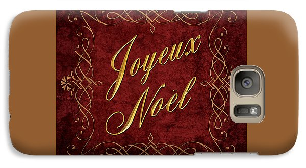 Galaxy Case featuring the digital art Joyeux Noel In Red And Gold by Caitlyn  Grasso