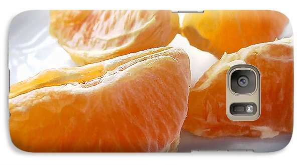 Galaxy Case featuring the photograph Juicy Orange Slices On A Blue Glass Plate by Louise Kumpf