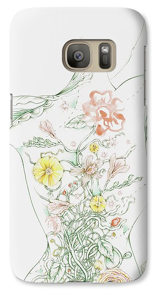 Galaxy Case featuring the drawing Julianna by Karen Robey