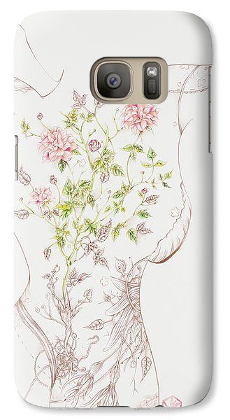 Galaxy Case featuring the drawing Juliette-sold by Karen Robey