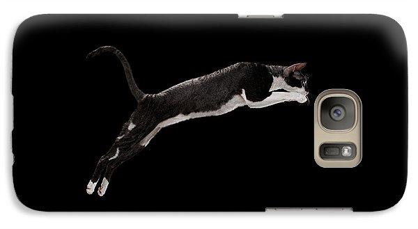 Cat Galaxy S7 Case - Jumping Cornish Rex Cat Isolated On Black by Sergey Taran