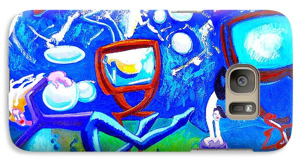 Galaxy Case featuring the painting Jumping Through Tv Land by Genevieve Esson