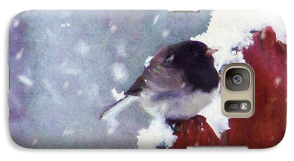 Galaxy Case featuring the digital art Junco In The Snow, Square by Christina Lihani