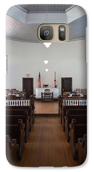 Mockingbird Galaxy S7 Case - Jury Box In A Courthouse, Old by Panoramic Images