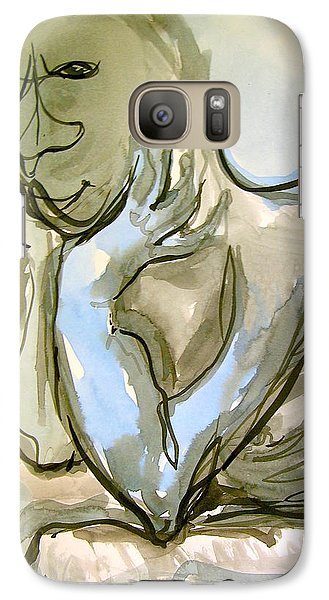 Galaxy Case featuring the painting Just Thinking by Mary Schiros