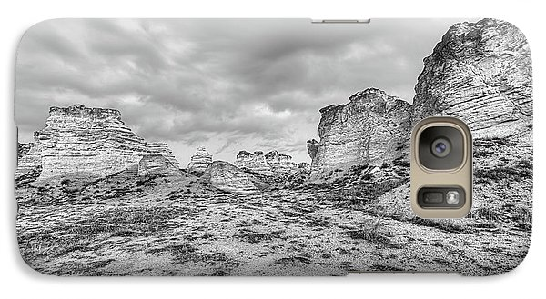 Galaxy S7 Case featuring the photograph Kansas Badlands Black And White by JC Findley
