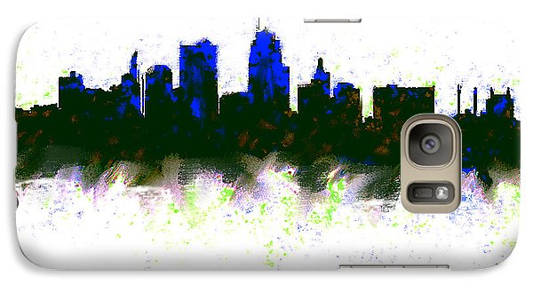 Kansas City Skyline Blue  Galaxy S7 Case by Enki Art