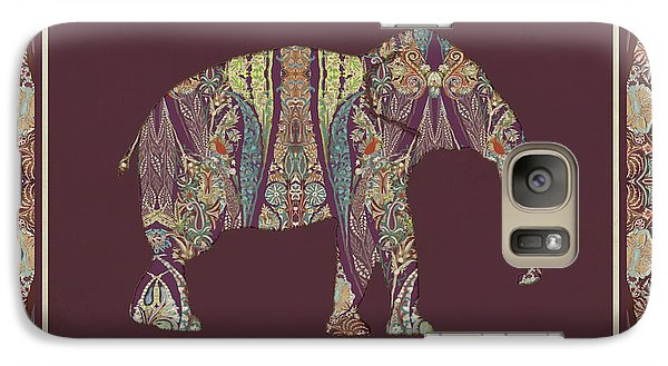 Galaxy Case featuring the painting Kashmir Patterned Elephant 2 - Boho Tribal Home Decor  by Audrey Jeanne Roberts