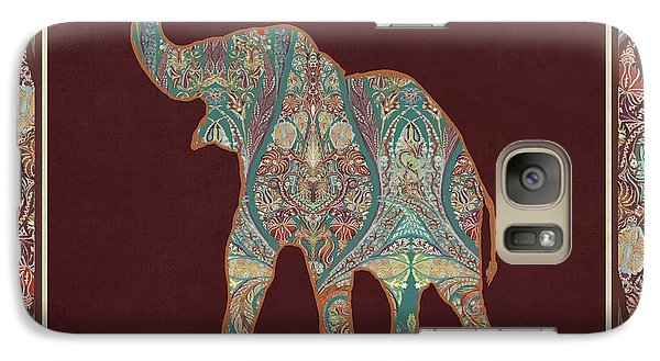 Galaxy Case featuring the painting Kashmir Patterned Elephant 3 - Boho Tribal Home Decor by Audrey Jeanne Roberts