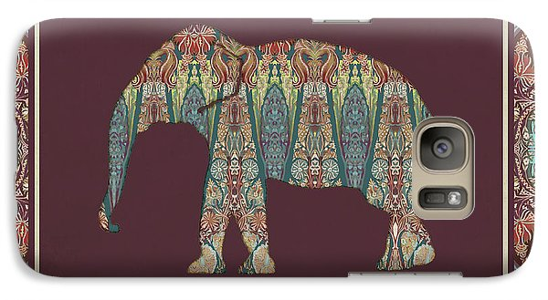 Galaxy Case featuring the painting Kashmir Patterned Elephant - Boho Tribal Home Decor  by Audrey Jeanne Roberts