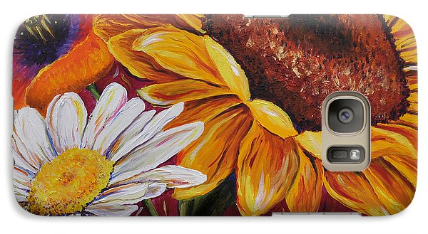 Galaxy Case featuring the painting Kathrin's Flowers by Lisa Fiedler Jaworski