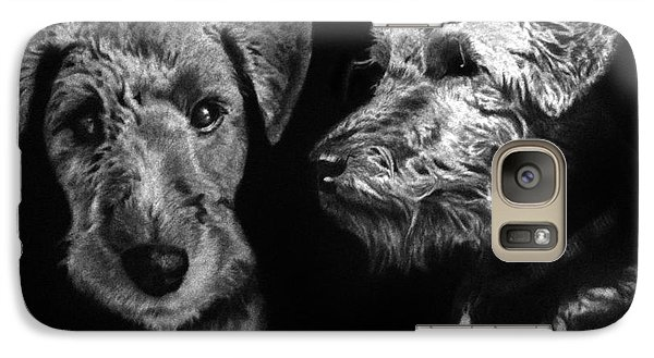 Galaxy Case featuring the drawing Keeper The Welsh Terrier by Peter Piatt