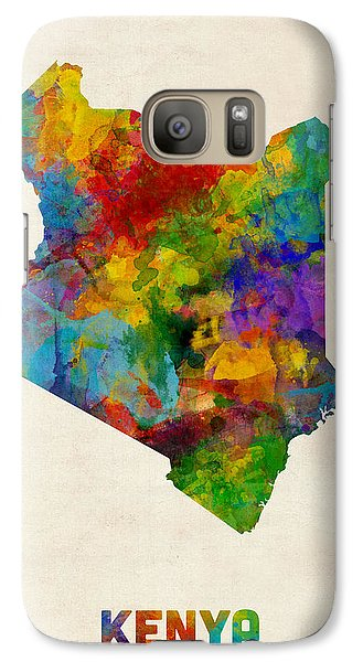 Galaxy Case featuring the digital art Kenya Watercolor Map by Michael Tompsett