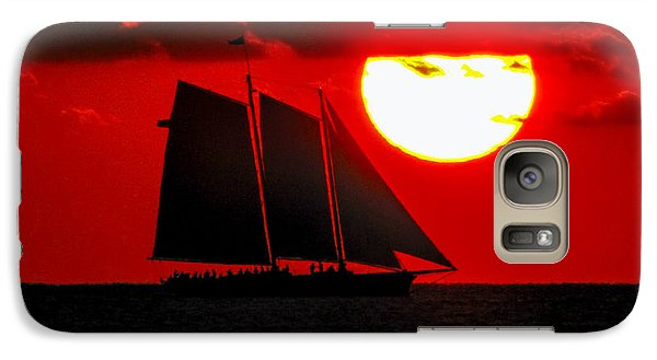 Key West Sunset Sail Silhouette Galaxy S7 Case