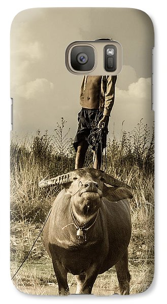 Galaxy Case featuring the photograph Kid And Cow by Arik S Mintorogo