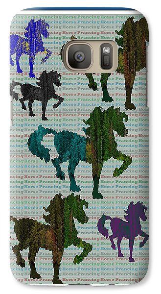 Kids Fun Gallery Horse Prancing Art Made Of Jungle Green Wild Colors Galaxy Case by Navin Joshi