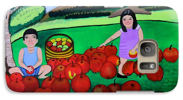 Galaxy Case featuring the painting Kids Playing And Picking Apples by Lorna Maza