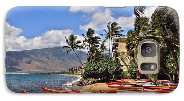 Galaxy Case featuring the photograph Kihei Canoe Maui by DJ Florek