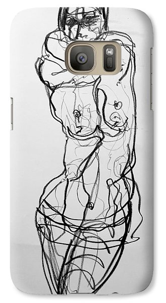 Galaxy Case featuring the drawing Kilroy 5 by Jarmo Korhonen aka Jarko