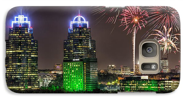 Galaxy Case featuring the photograph King And Queen Buildings Fireworks by Anna Rumiantseva
