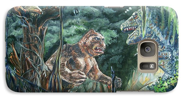 Galaxy Case featuring the painting King Kong Vs T-rex by Bryan Bustard