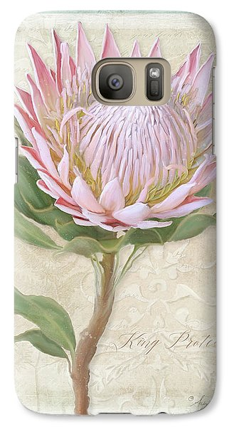 Galaxy Case featuring the painting King Protea Blossom - Vintage Style Botanical Floral 1 by Audrey Jeanne Roberts