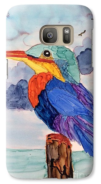 Galaxy Case featuring the painting Kingfisher On Post by Suzanne Canner
