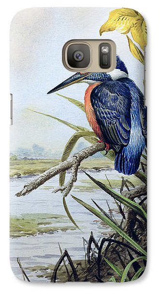 Kingfisher With Flag Iris And Windmill Galaxy Case by Carl Donner