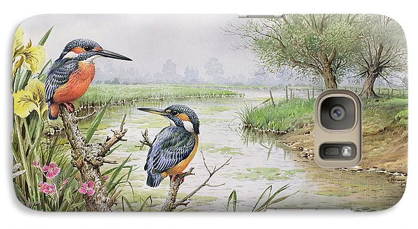 Kingfisher Galaxy S7 Case - Kingfishers On The Riverbank by Carl Donner