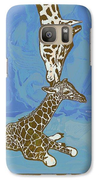 Kissing - Giraffe Stylised Pop Art Poster Galaxy S7 Case