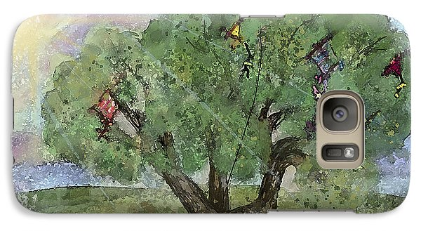 Galaxy Case featuring the painting Kite Eating Tree by Annette Berglund