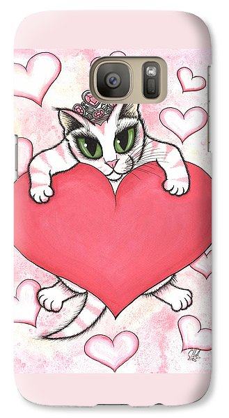 Galaxy Case featuring the painting Kitten With Heart by Carrie Hawks