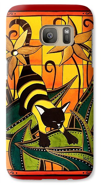 Galaxy Case featuring the painting Kitty Bee - Cat Art By Dora Hathazi Mendes by Dora Hathazi Mendes