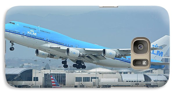 Galaxy Case featuring the photograph Klm Boeing 747-406m Ph-bfh Los Angeles International Airport May 3 2016 by Brian Lockett