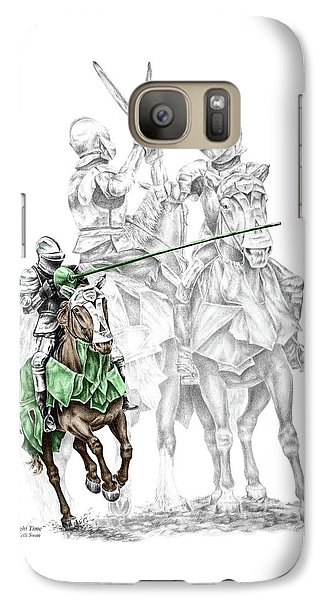 Galaxy Case featuring the drawing Knight Time - Renaissance Medieval Print Color Tinted by Kelli Swan