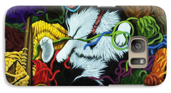 Galaxy Case featuring the painting Knitter's Helper - Cat Painting by Linda Apple
