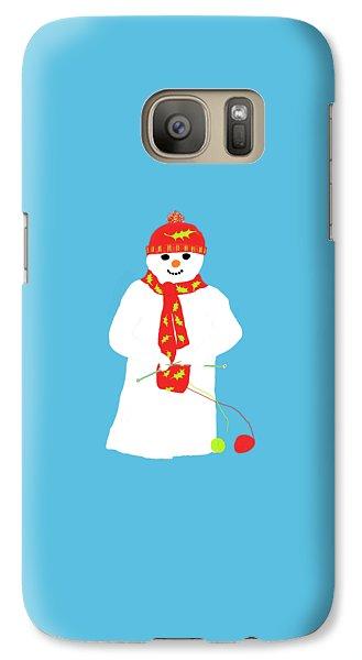 Galaxy Case featuring the digital art Knitting Snowman by Barbara Moignard