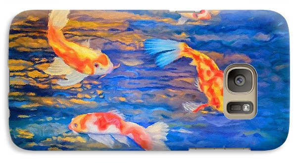 Galaxy Case featuring the painting Koi At Play by Teri Atkins Brown