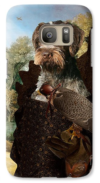 Korthals Pointing Griffon Art Canvas Print - The Hunters And Lady Falconer Galaxy S7 Case
