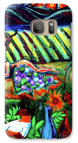 Galaxy Case featuring the painting Lady And The Grapes by Genevieve Esson